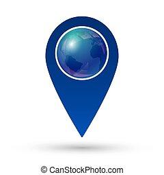 földgolyó, elhelyezés, ikon