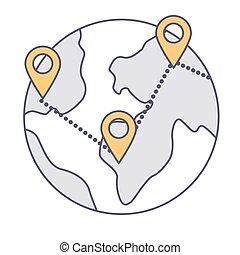 földgolyó, elhelyezés, vektor, nemzetközi, irányzók, ügy, összekapcsolt