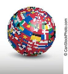 földgolyó, flags., világ, elkészített, ki