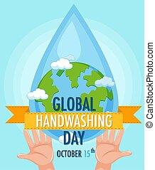 földgolyó, jel, kézbesít, globális, mosás, kéz, víz letesz, nap