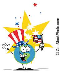 földgolyó, kalap, amerikai, hazafias
