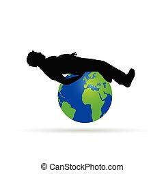 földgolyó, vektor, ábra, ember