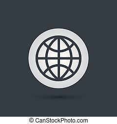 földgolyó, vektor, ikon