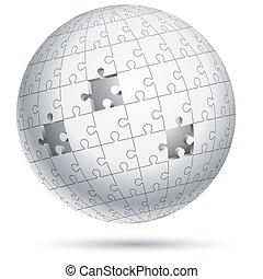 földgolyó, vektor, illustrations., sphere., rejtvény, lombfűrész