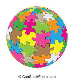 földgolyó, vektor, színes, rejtvény, háttér