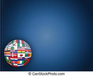 földgolyó, zászlók, háttér