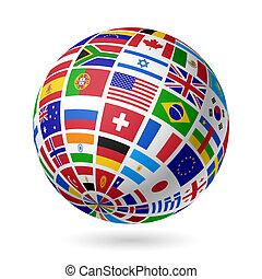 földgolyó, zászlók