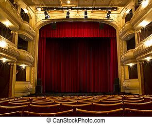függöny, öreg, színház, piros, fokozat