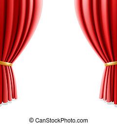 függöny, fehér, színház, piros