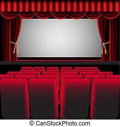 függöny, szék, előszoba, mozi, piros, könnyen