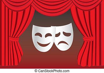 függöny, színház, maszk