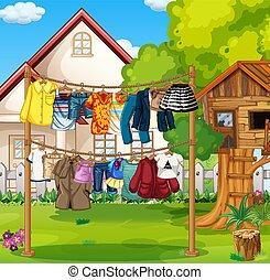 függő, elülső, ruhaszárító kötelek, öltözék, épület