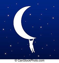 függő, ember, vektor, ábra, hold
