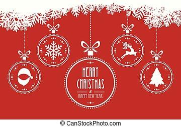 függő, herék, karácsony, háttér, piros