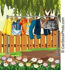 függő, kert virág, kerítés, színhely, ruhaszárító kötél, öltözék