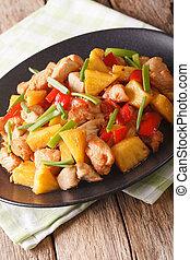 függőleges, kellemes, növényi, fanyar, ananász, close-up., csirke, sült, szósz