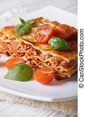 függőleges, lasagna, olasz, porció, tányér., fehér