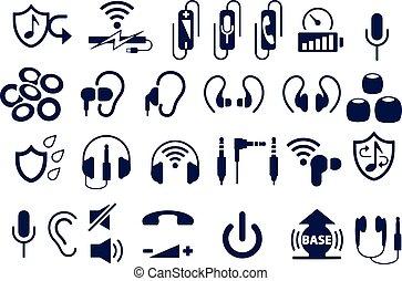 fülhallgató, ikonok, vektor, tervezés