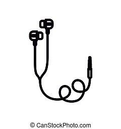 fülhallgató, tervezés, ikon, elszigetelt