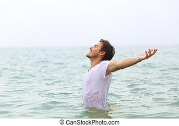 fürdés, kifeszítő, ams, boldog, tengerpart, ember