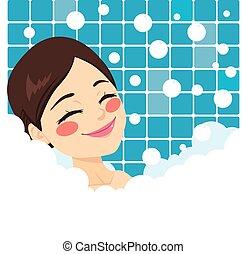 fürdés, woman ellankad