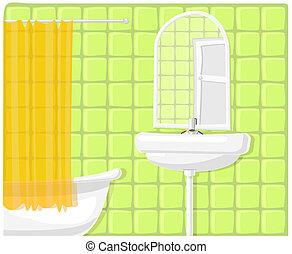 fürdőszoba, ábra, vektor