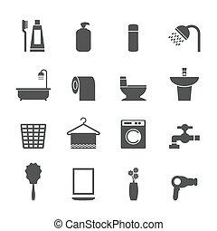 fürdőszoba, állhatatos, ikonok