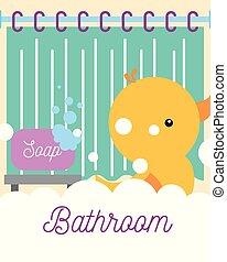 fürdőszoba, játékszer, hab, gumikacsa, függöny, szappan