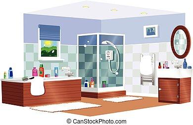 fürdőszoba, jellegzetes
