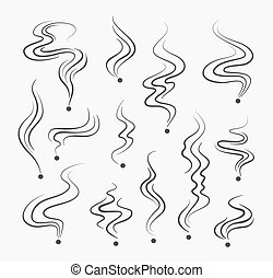 füstöl, vektor, szag, dohányzó, cégtábla, illat, egyenes, dohányzik, spirál, icons.