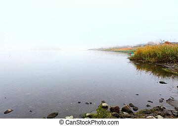 füstköd, tó, reggel