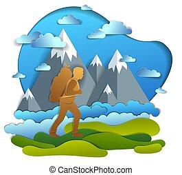 füves táj, pasas, hátizsák, ábra, climber., kiránduló, hegy, gyalogló, vacations., bábu természetjárás, magas, nyár, át, csúcs, színpadi, természet, vektor, háttér., szállítás
