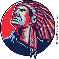 fő, american indian, retro, bennszülött