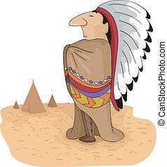fő, törzsi, amerikai, bennszülött
