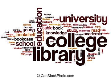 főiskola, szó, könyvtár, felhő