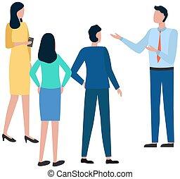 főnök hivatal, álló, colleagues., befog, csatlakozó, fehér, hallgat, gyűlés, elszigetelt, munkás