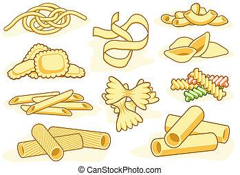 főtt tészta, alakít, ikonok