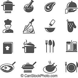 főzés, állhatatos, ikonok