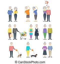 főzés, bevásárlás, különböző, állhatatos, dolgozó, emberek., selfie., activity:, sport, gyártás, idősebb ember