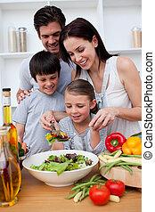 főzés, együtt, család, boldog