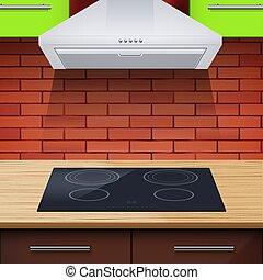 főzőlap, modern, csuklya, konyha, általánosítás