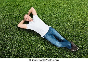 fű, fekvő, ember