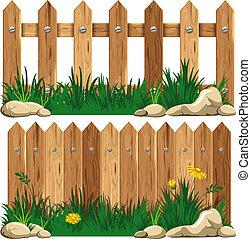 fű, wooden kerítés