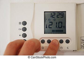 fűtés, beállítás, hőmérséklet, kéz, termosztát