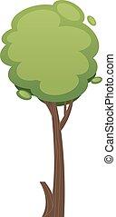 fa, ábra, háttér, elszigetelt, karikatúra, fehér