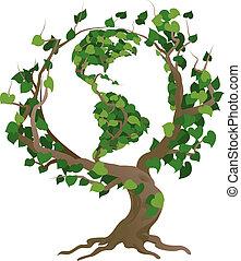 fa, ábra, vektor, világ, zöld