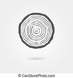 fa, árnyék, ikon, gyűrű, fekete