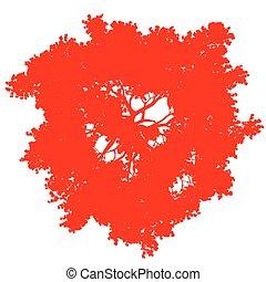fa, -, árnykép, piros, elszigetelt, kilátás, vektor, tető