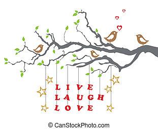 fa, él, szeret, nevet, elágazik
