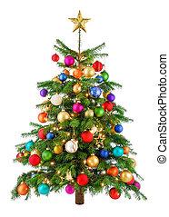 fa, örömtelien, színes, karácsony